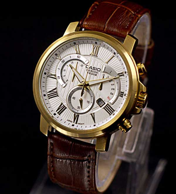đồng hồ nam dây da mặt tròn
